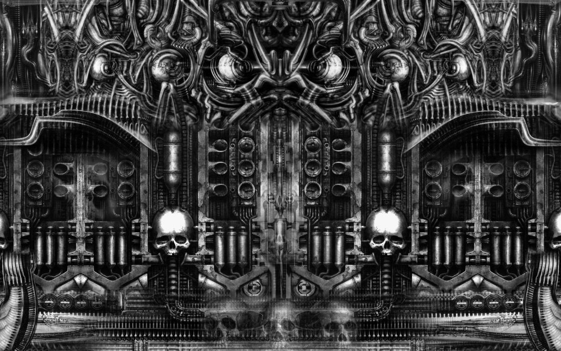 H R GIGER art artwork dark evil artistic horror fantasy sci-fi wallpaper