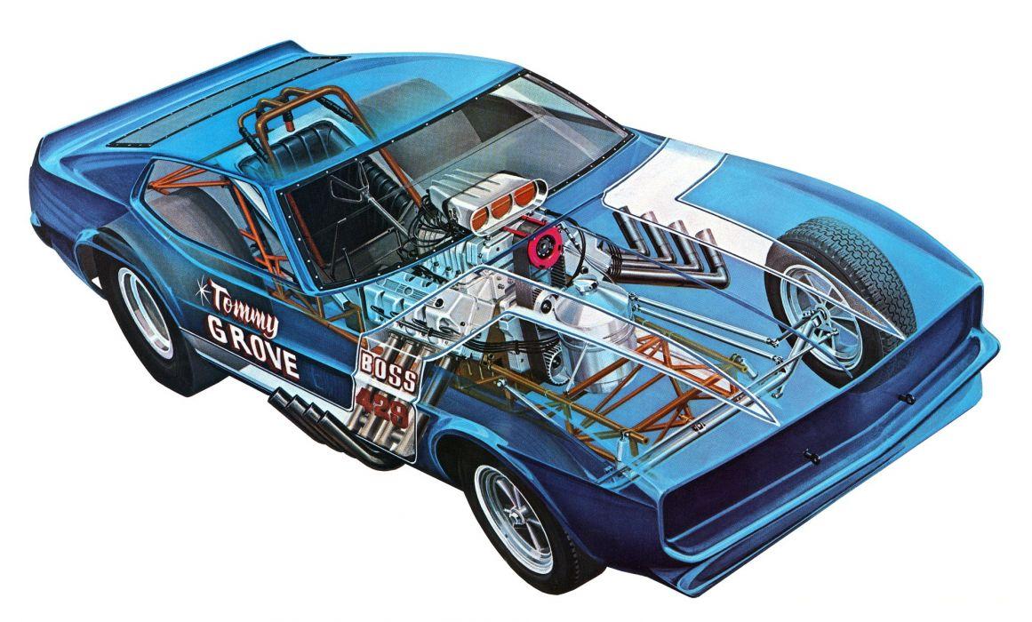 Mustang Funny car cars technical cutaway wallpaper