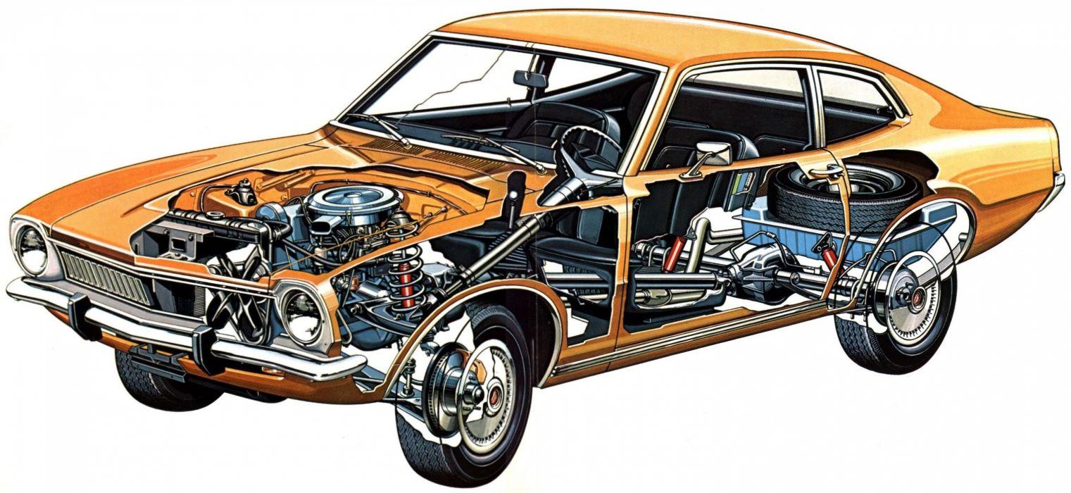 Ford Maverick 1977 cars technical cutaway wallpaper