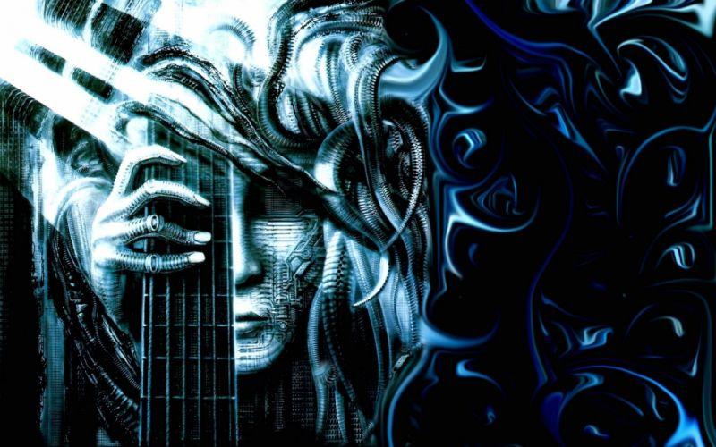 H R GIGER art artwork dark evil artistic horror fantasy sci-fi steve stevens guitar heavy metal wallpaper