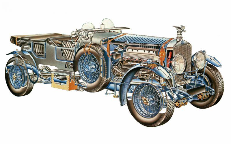 Delage-D8 classic cars technical cutaway wallpaper