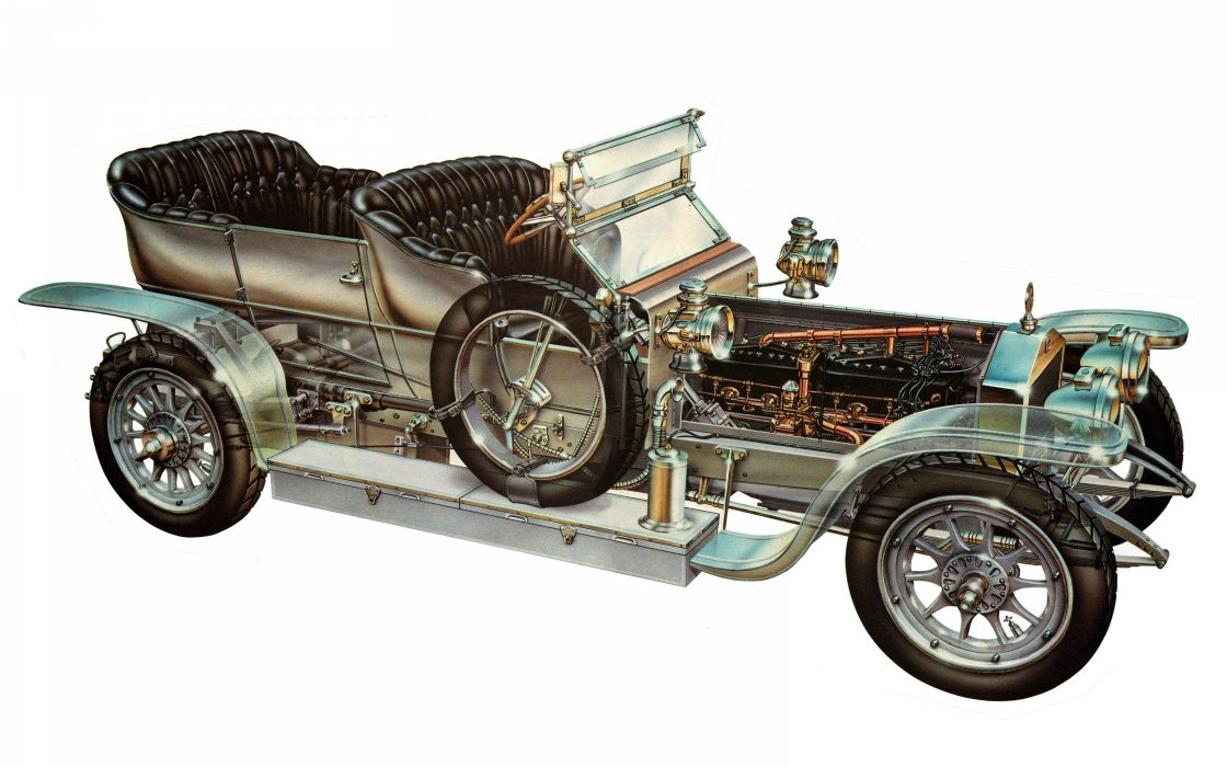 Rolls Royces Silver Ghost classic cars technical cutaway wallpaper