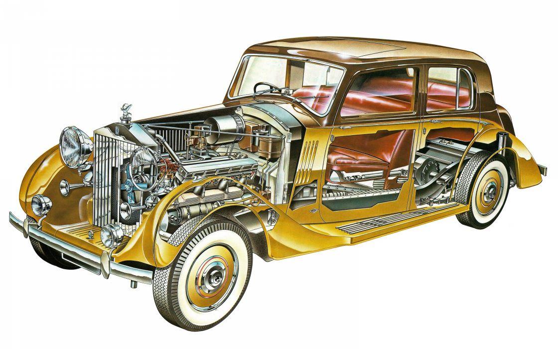 Rolls Royces Phantom III classic cars technical cutaway wallpaper