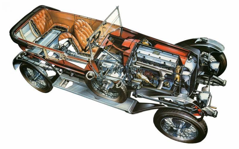 98 classic cars technical cutaway wallpaper