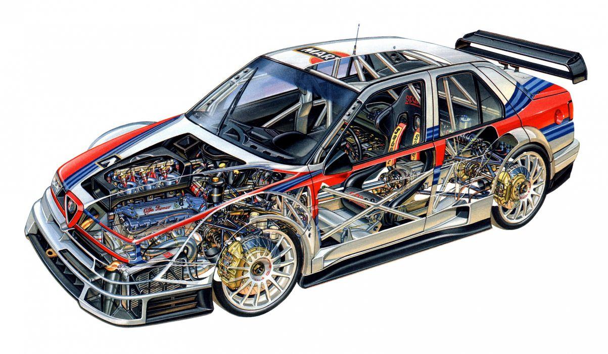 Alfa Romeo 155 V6 TI ITC 1996 cars races cutaway technical wallpaper