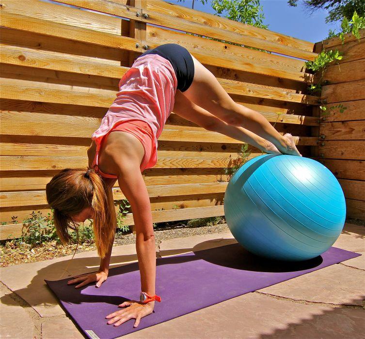 SPORTS - girl women blonde ball exercise full pike wallpaper