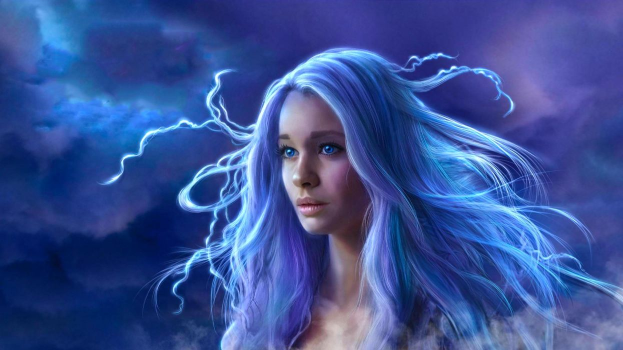 blue hair eyes fantasy long girl beauty wallpaper