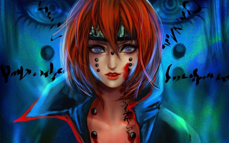 anime girl blue eyes red hair character naruto wallpaper