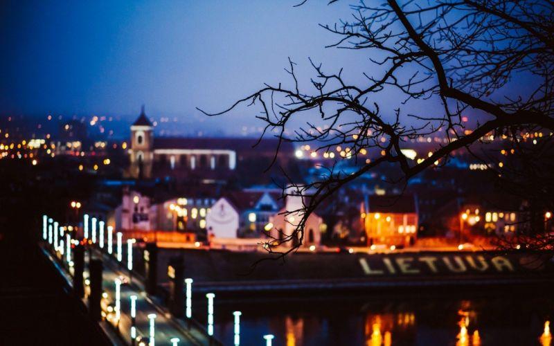 kaunas-lietuva-lithuania-city-bridge-night-lights wallpaper