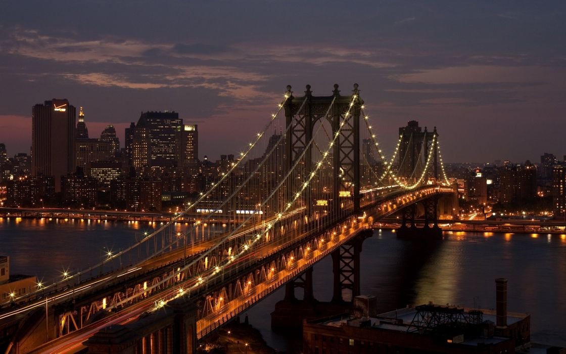 manhattan-bridge-new-york-city-usa-night-photo wallpaper