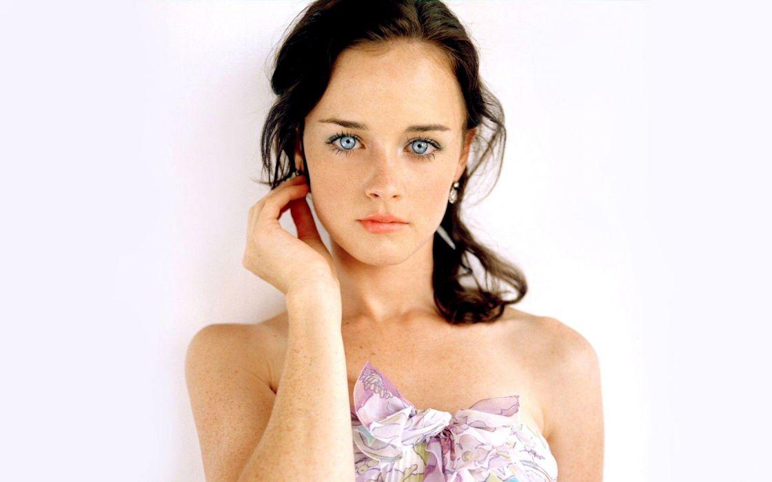 women faces freckles Alexis Bledel blue eyes brunettes actresses wallpaper
