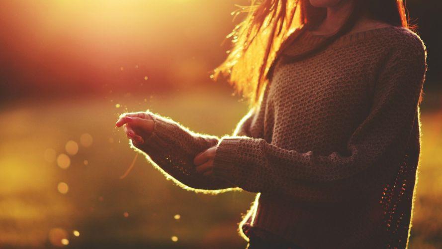 women mood sweaters brunettes depth of field sunlight wallpaper
