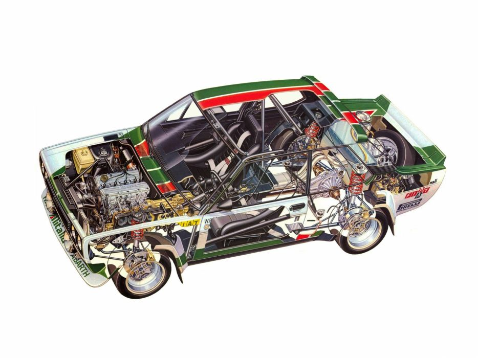 Fiat Abarth 131 Rally Corsa 1976 cars technical cutaway wallpaper