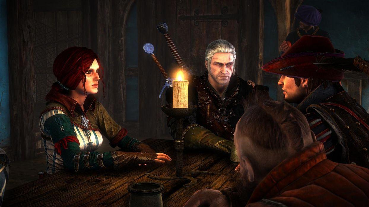 The Witcher 2 Assassins of Kings Dandelion Zoltan Chivay Geralt Triss Merigold wallpaper