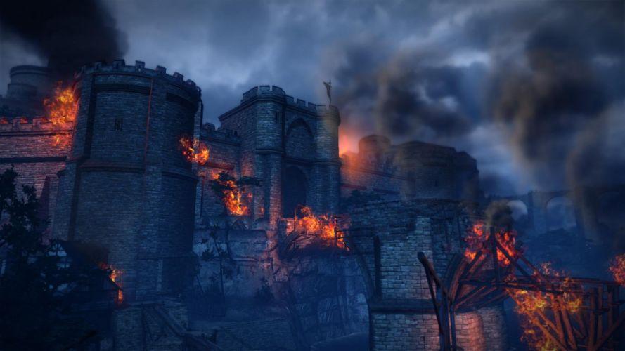 The Witcher 2 Assassins of Kings La Valette Castle Fire wallpaper