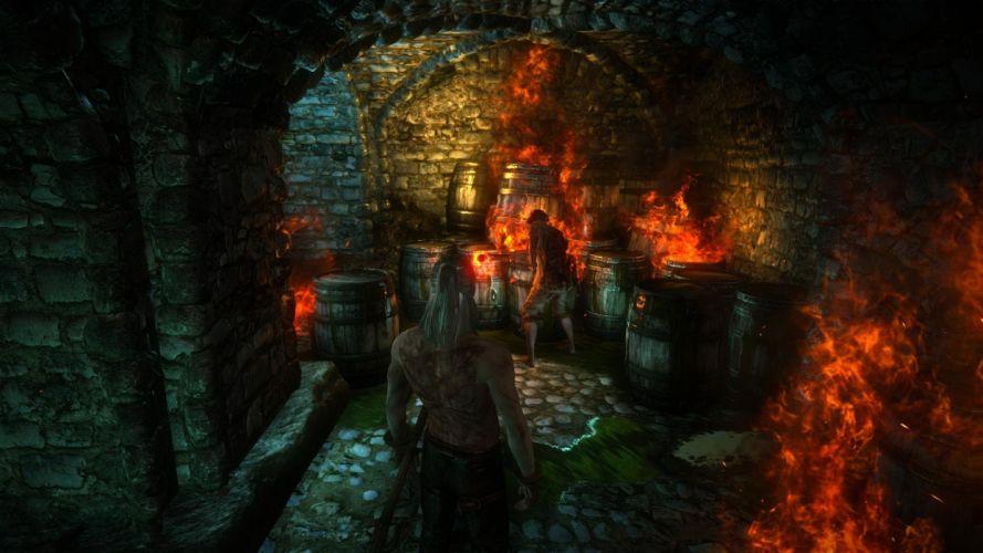 The Witcher 2 Assassins of Kings Geralt Dungeons of La Valette Castle Arjan fire wallpaper