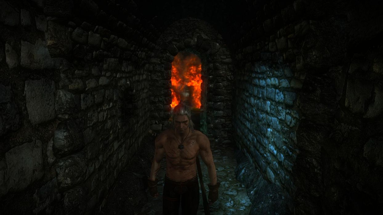 The Witcher 2 Assassins of Kings Dungeons of La Valette Castle fire Geralt wallpaper