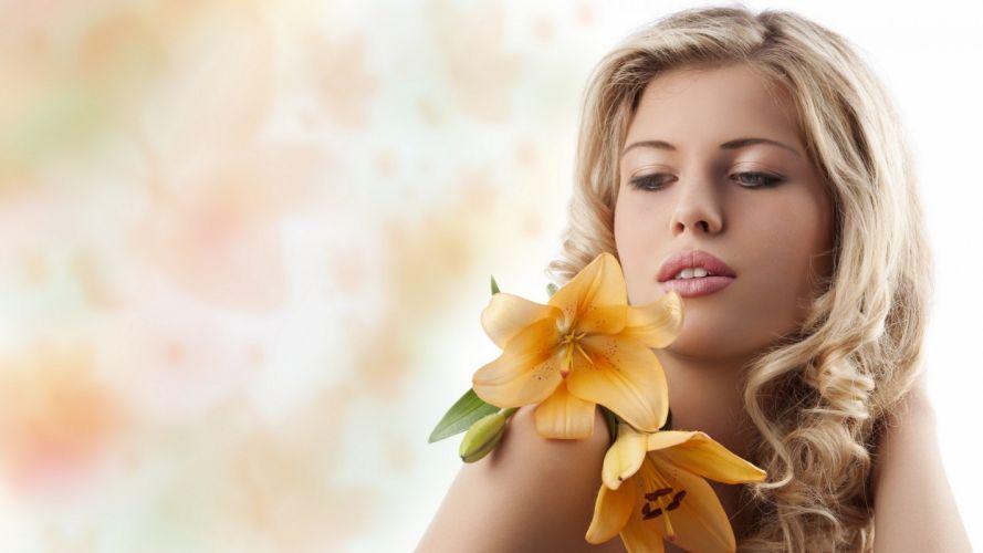 FACES - women girls blonde lips flowers wallpaper