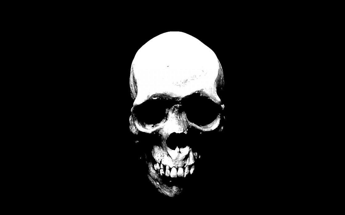 SKULLS - dark abstract black white wallpaper