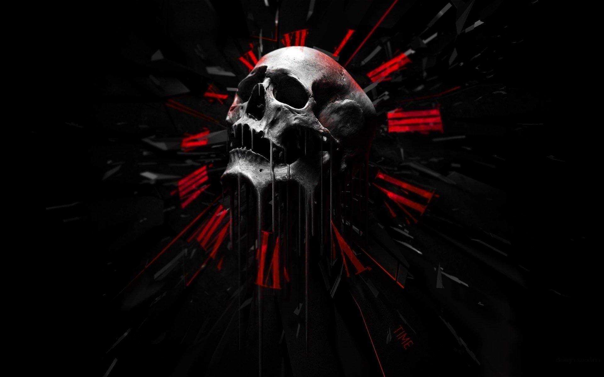 SKULLS  Dark Abstract Black Red Wallpaper 1920x1200
