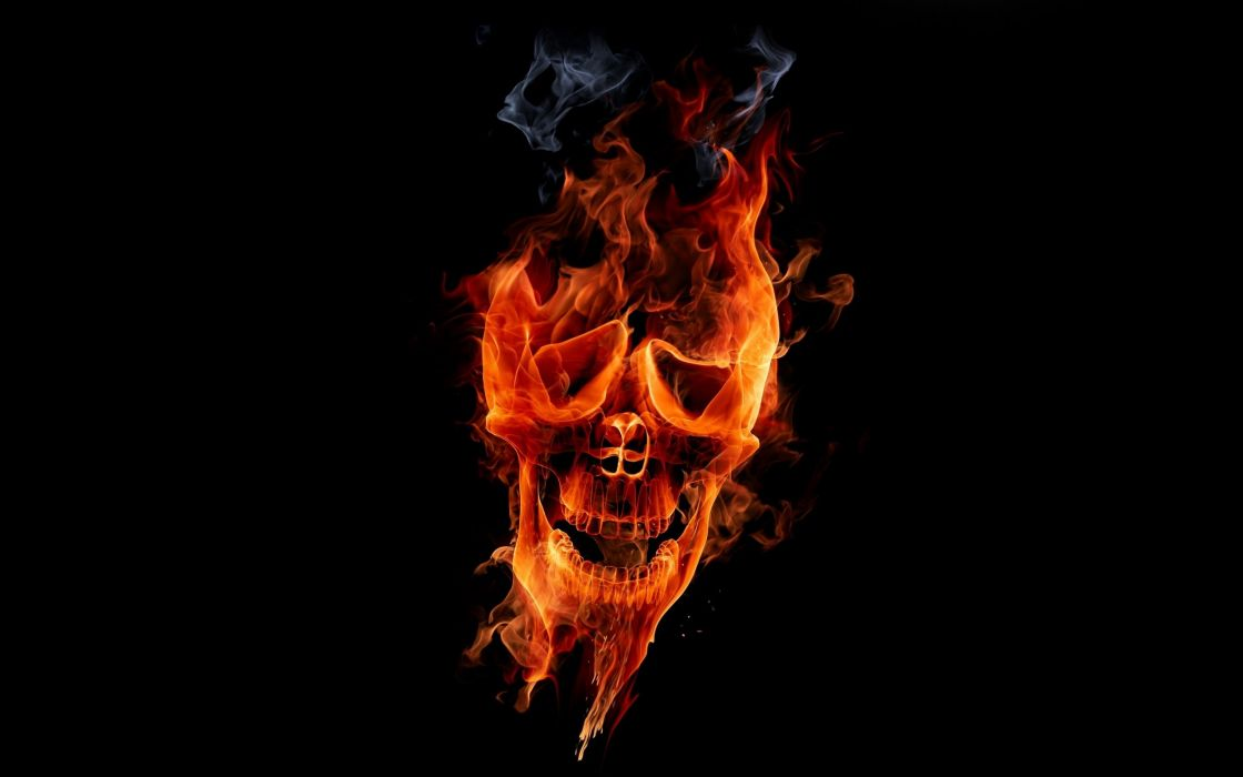 SKULLS - dark abstract flames flaming black wallpaper