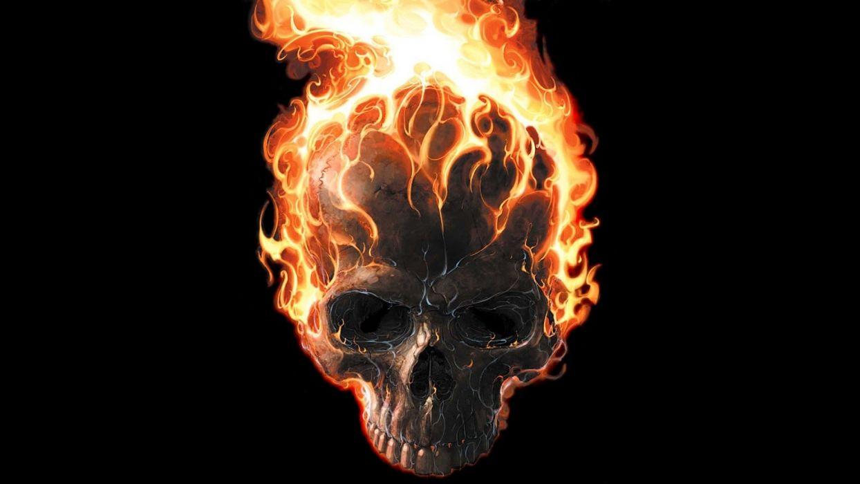 SKULLS - dark abstract flaming black wallpaper