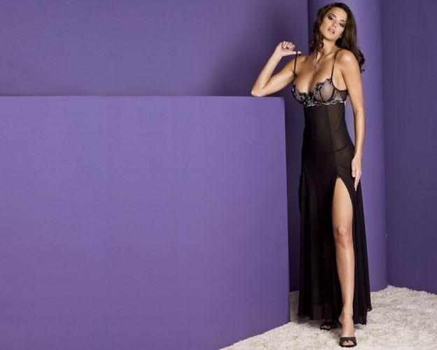 women girls brunette nightdress purple wallpaper
