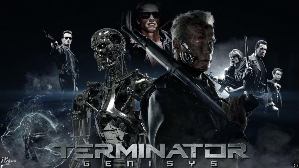 TERMINATOR GENISYS sci-fi futuristic action fighting warrior robot cyborg 1genisys poster wallpaper