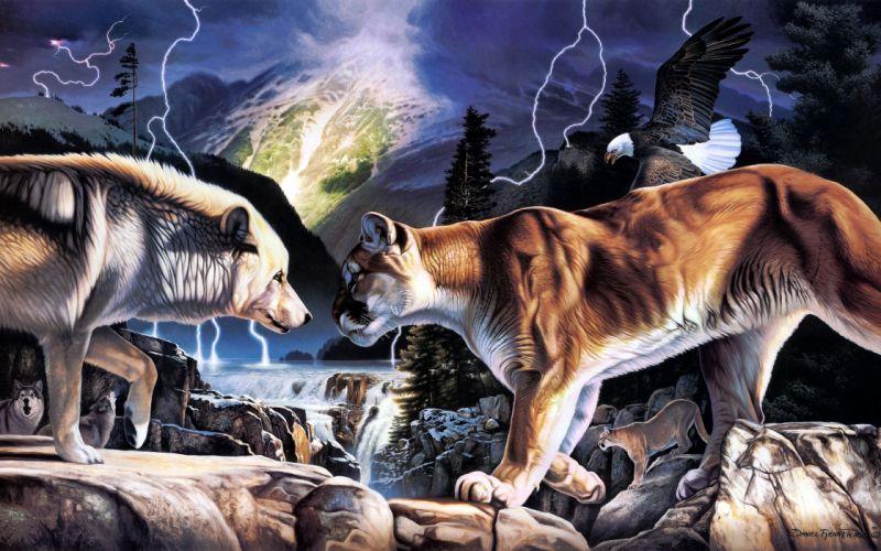 pintura arte lobo leon wallpaper