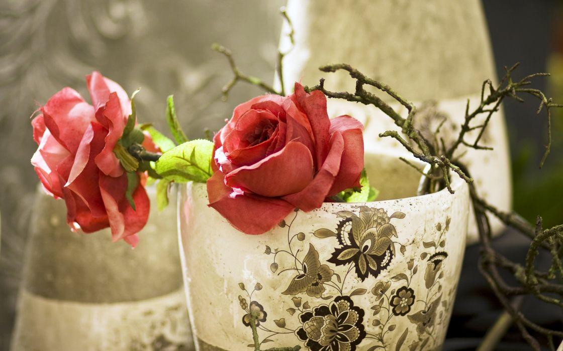artificial roses pink wallpaper