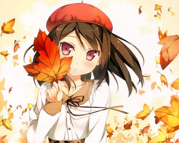 houkago anime girl leaves cute wallpaper