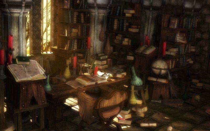 library anime wallpaper