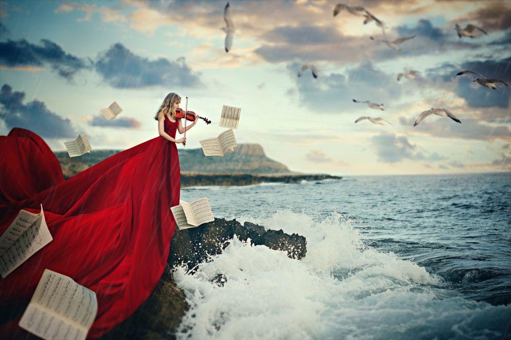 red dress girl beautiful sea violin notes magic music wallpaper
