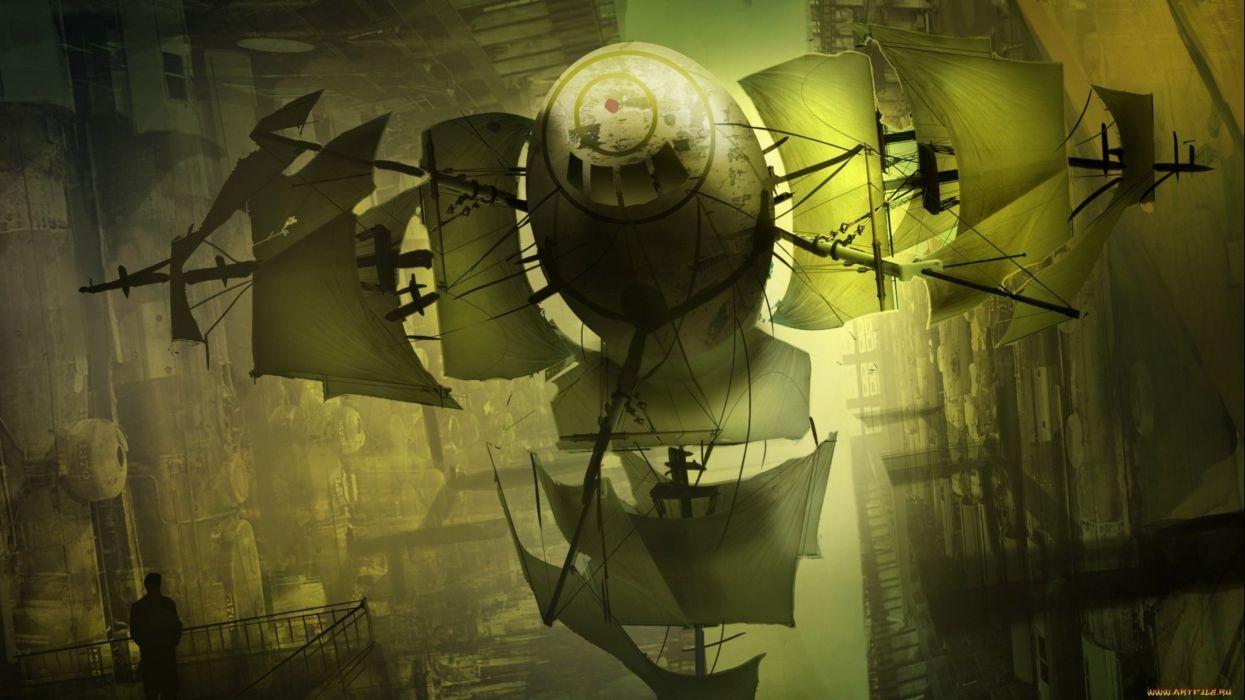 fantasy art artwork airplane aircraft blimp steampunk ship d wallpaper