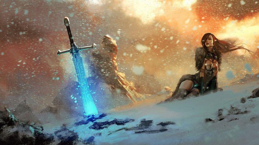 SWORDS - art women girls snow sword wallpaper