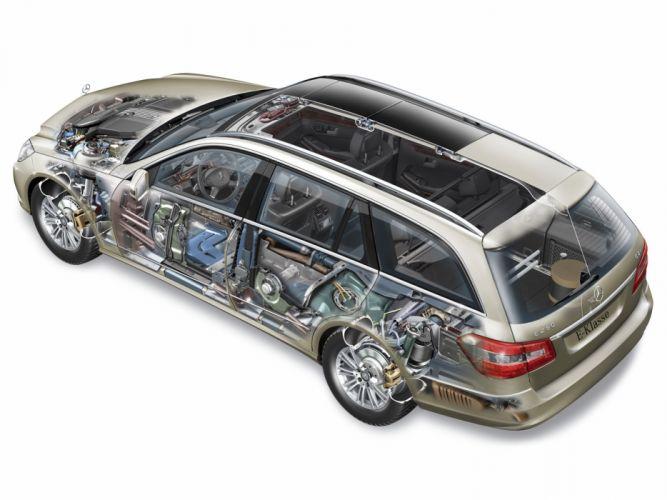Mercedes Benz E-250 CDI Estate wagon cars technical cutaway 2009 wallpaper