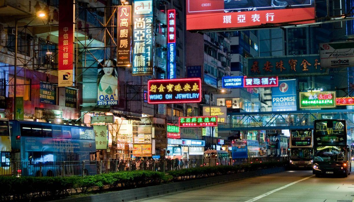 asian china neon lights streets wallpaper