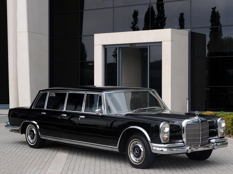 Mercedes Benz 600 6-door Pullman Limousine black classic cars 1964 wallpaper