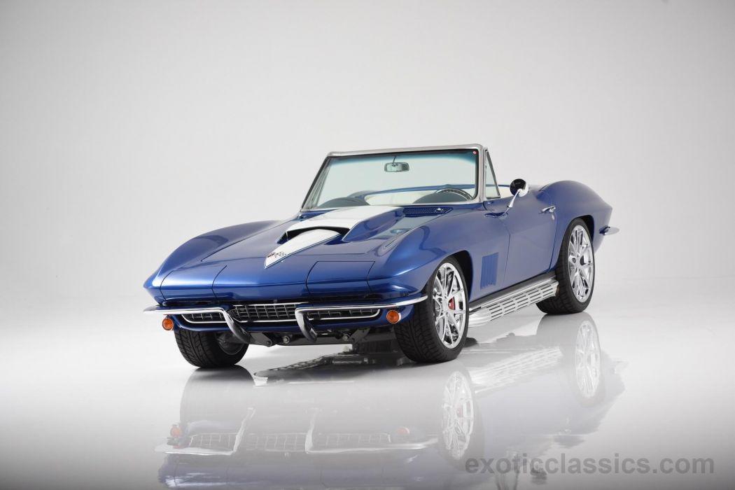 1967 Blue cars Chevrolet classic convertible Corvette stingray wallpaper