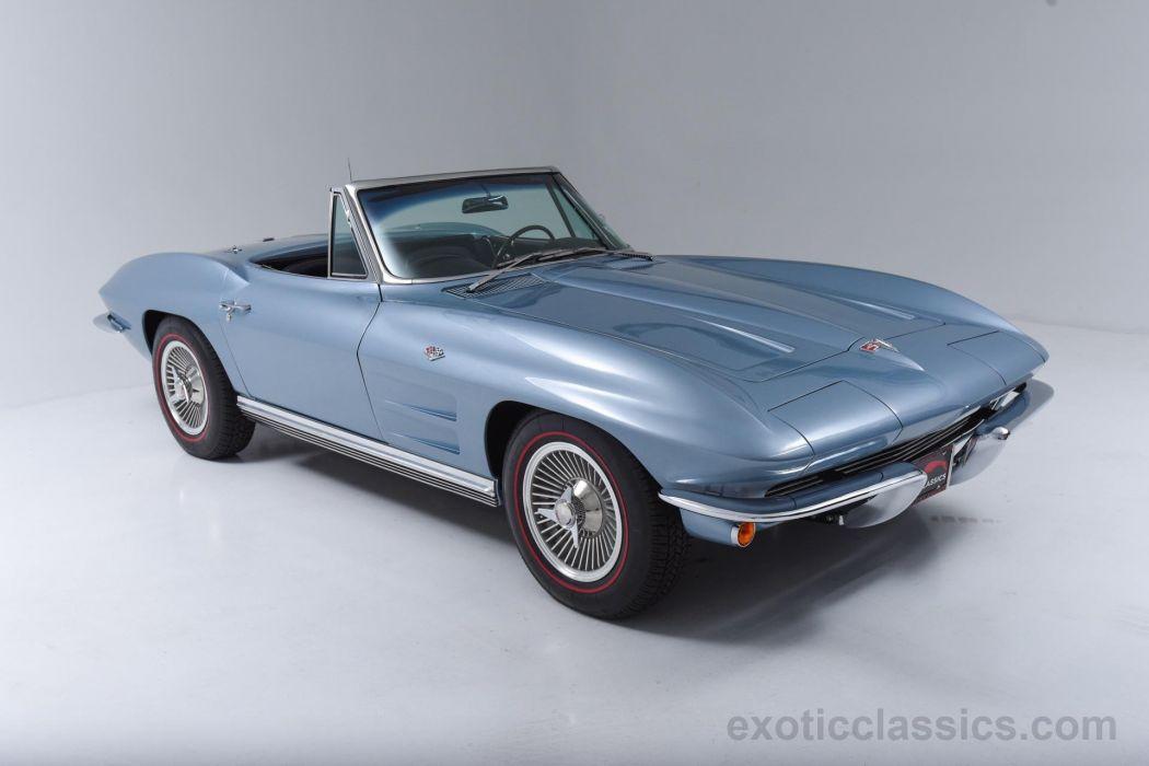 1964 Blue Cars Chevrolet Classic Convertible Corvette Stingray