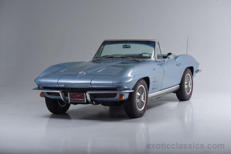 1964 Blue cars Chevrolet classic convertible Corvette stingray wallpaper