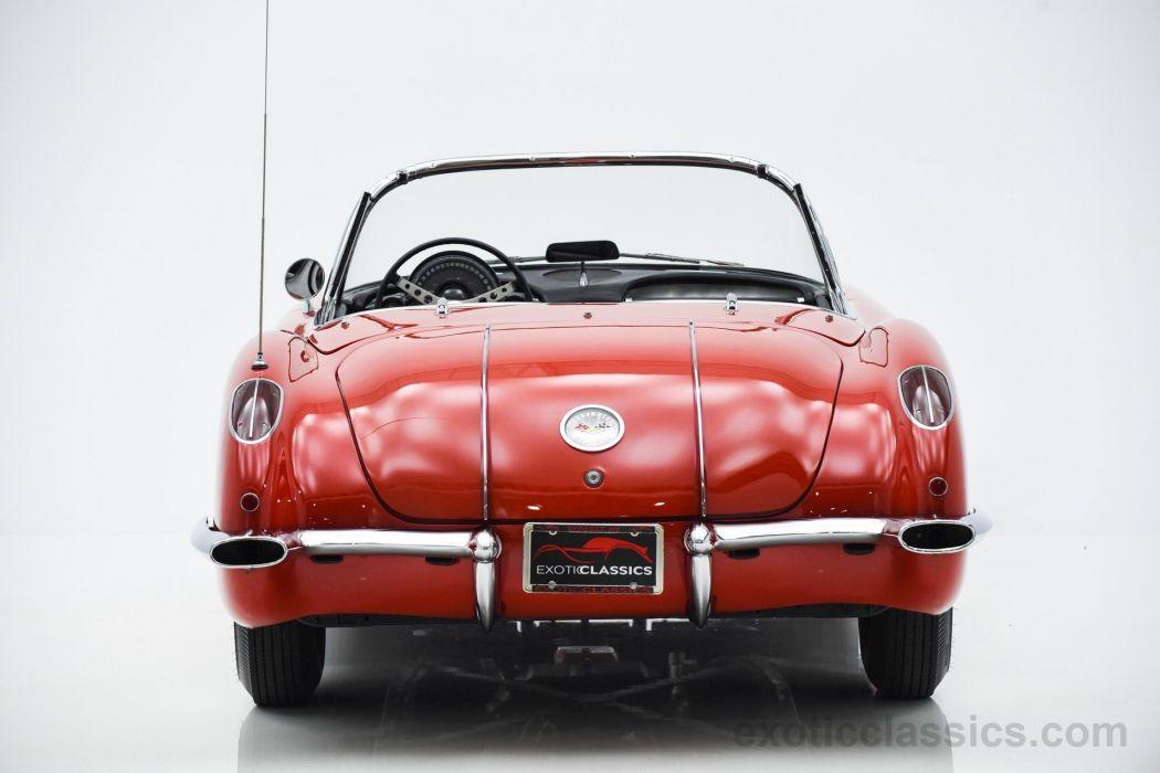 1958 c1 red cars Chevrolet classic convertible Corvette stingray wallpaper