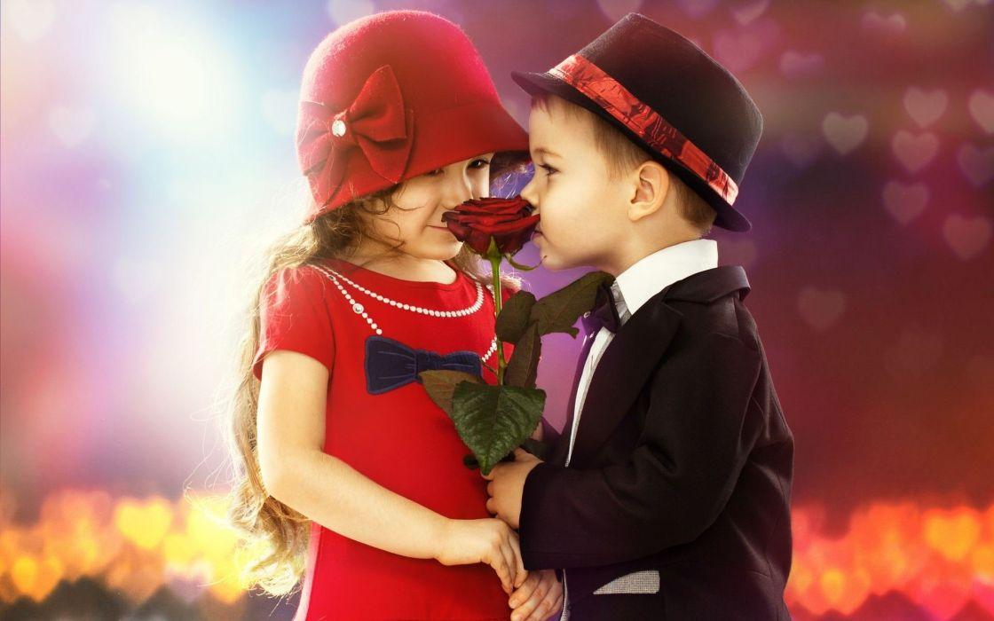 KISS - cute child couple boy girl rouse wallpaper