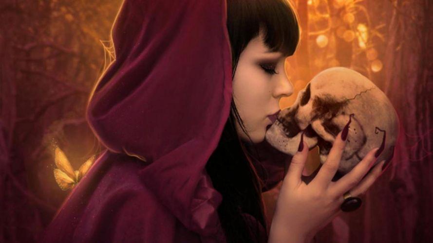 KISS - women girls brunette dark skull skull witch wallpaper