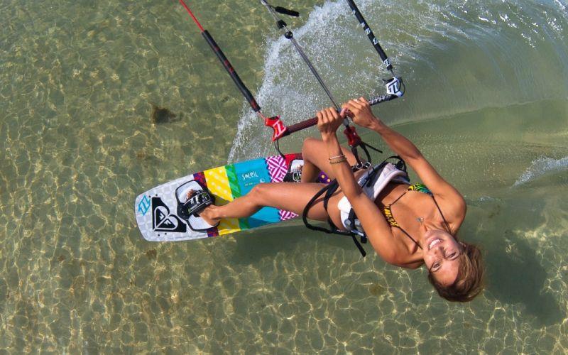 SPORTS - women girl brunette skysurf wallpaper