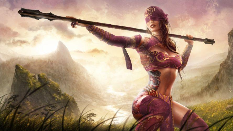 WARRIOR WOMEN - girls blindfolded warrior spear tattoo wallpaper