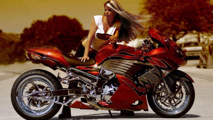 WOMEN AND MACHINES - women girl blonde super bikes wallpaper