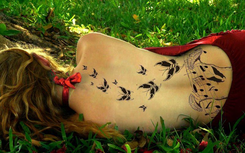 women girl blonde musical back tattoed wallpaper