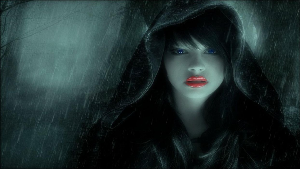 women girl dark kiss lips rain wallpaper