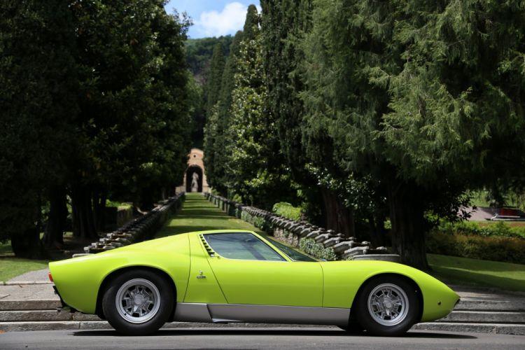 1971 Lamborghini Miura SV classic cars green wallpaper